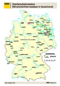 Karte Charterscheinreviere in Deutschland