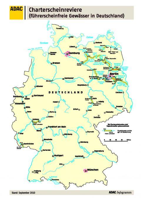 Karte Charterscheinreviere In Deutschland Adac Skipper Portal