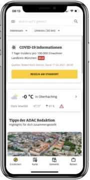 Corona-Infos in ADAC Trips App.
