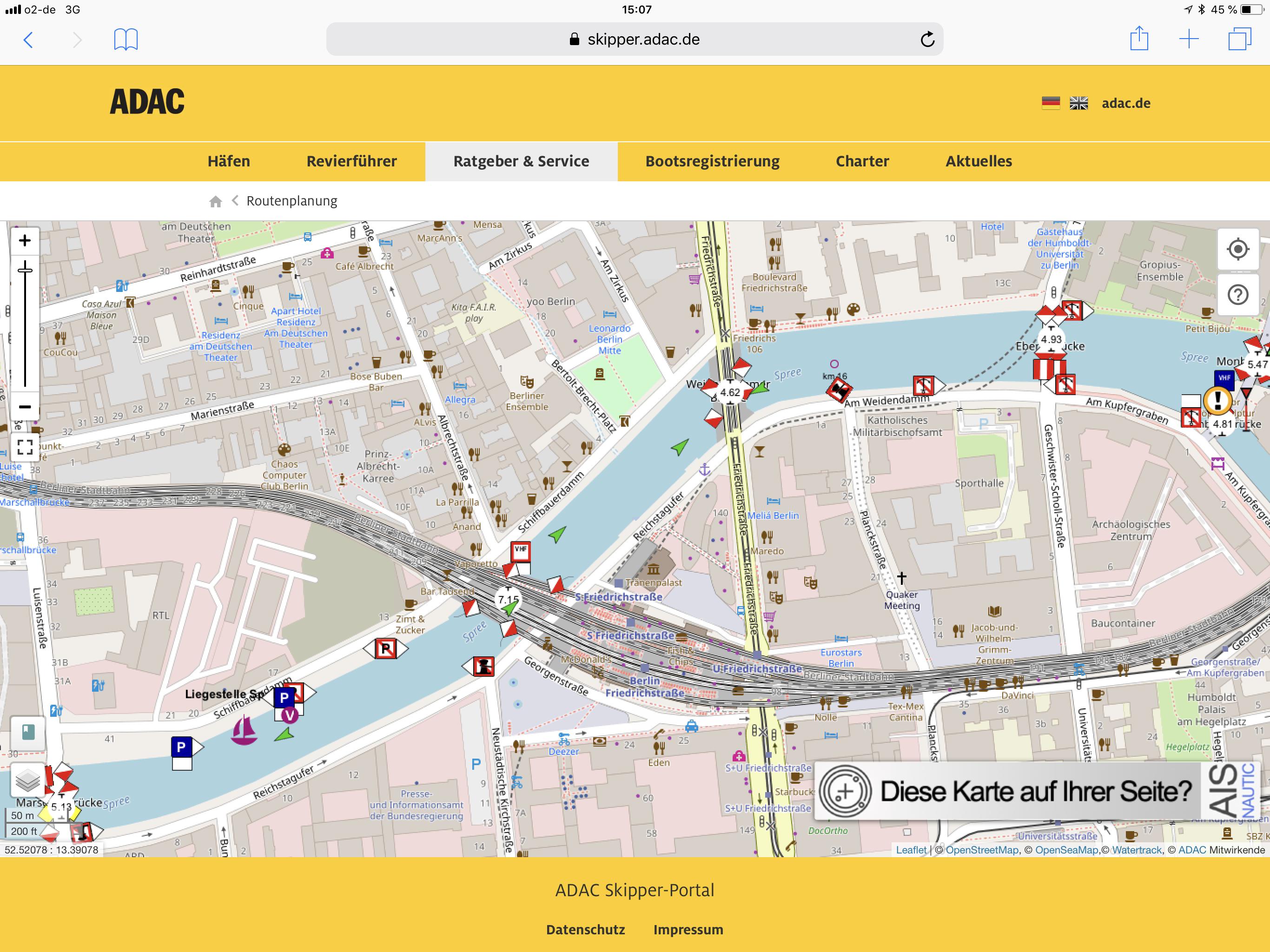 Routenplanung mit Streckenführung für Boote auf Binnenwasserstraßen.