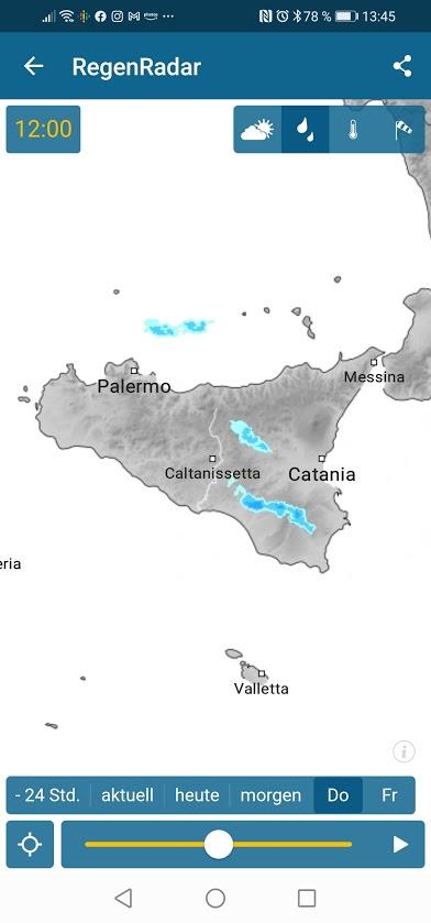Regenradar Screenshot Sizilien