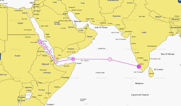 Die Route von Cochin bis Sudan