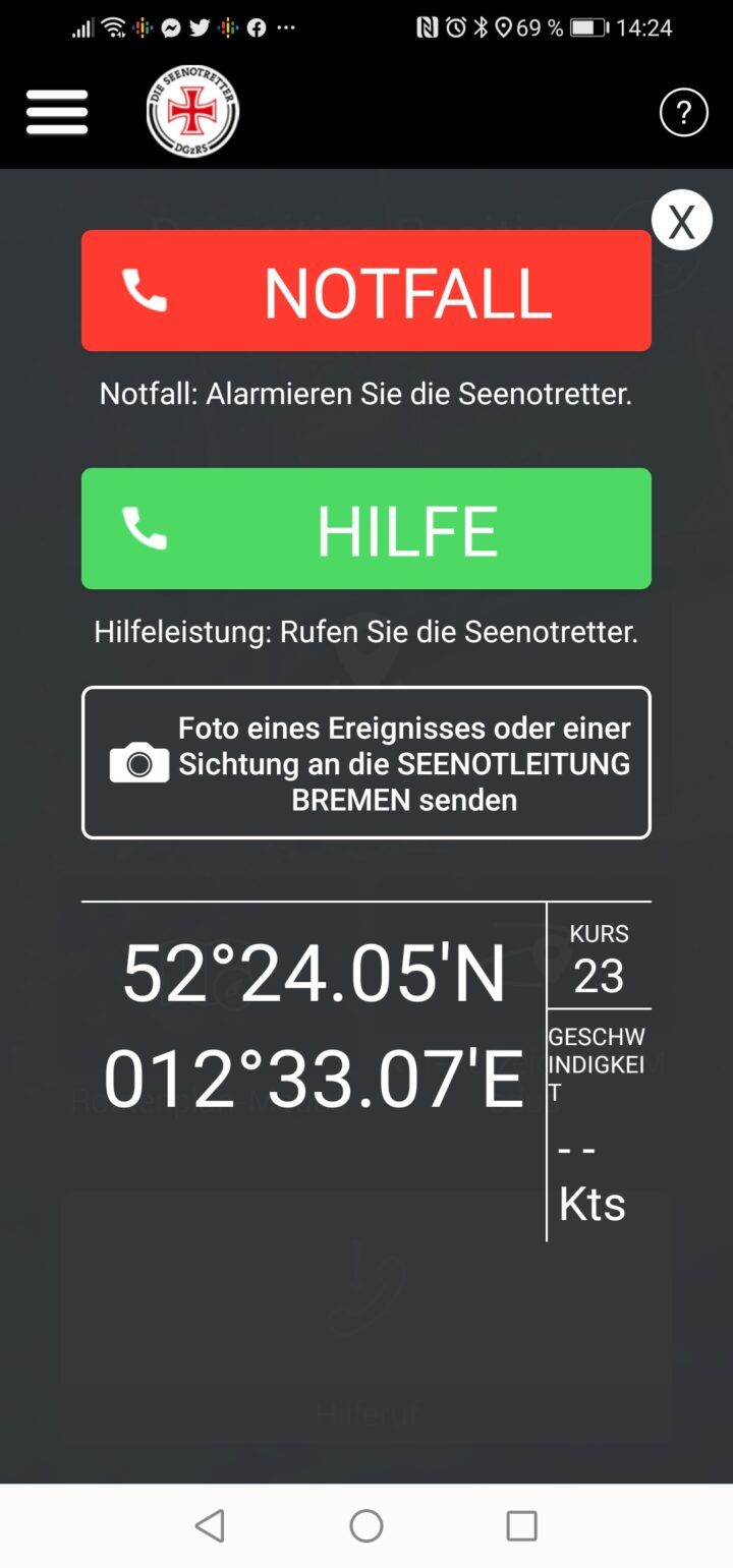 SafeTrx App Screenshot Notruf