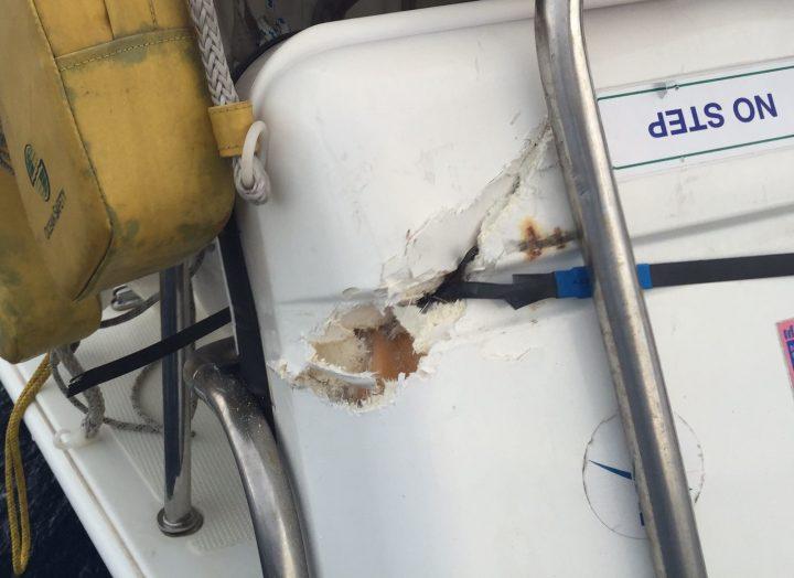 Container Rettungsinsel nach Kollision mit Anker beschädigt