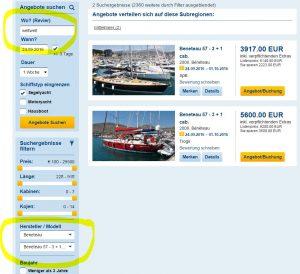 Schiffstypensuche Yachtcharter
