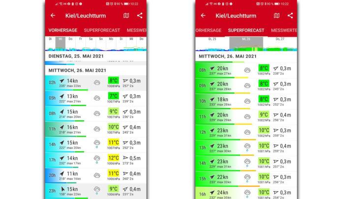 Windfinder Vergleich Vorhersage und Superforecast